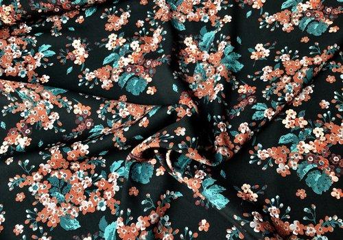 Editex Blouse Dark Green rusty flowers