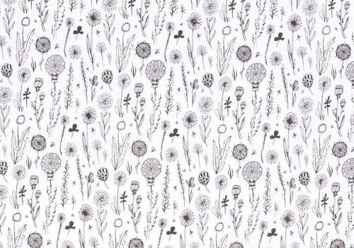 De Stoffenkamer Double Gauze Tetra white flower field