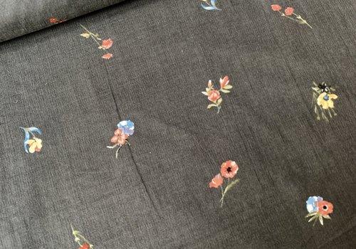De Stoffenkamer Babyrib velvet flowers grey
