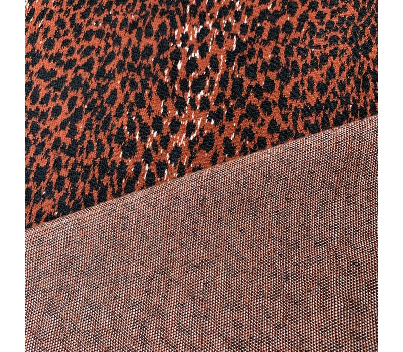 Stevige Jacquard Tricot rusty leopard