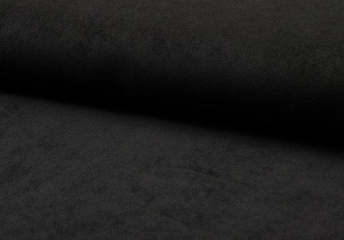 De Stoffenkamer Babyrib effen zwart