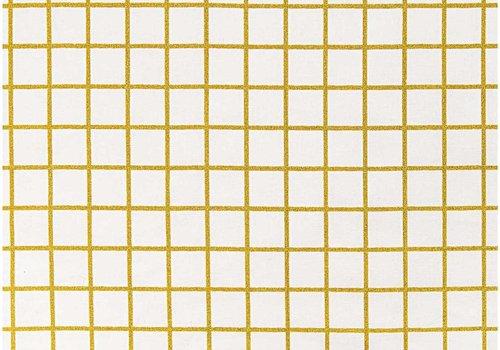 De Stoffenkamer Gelamineerd Katoen Gold Grid