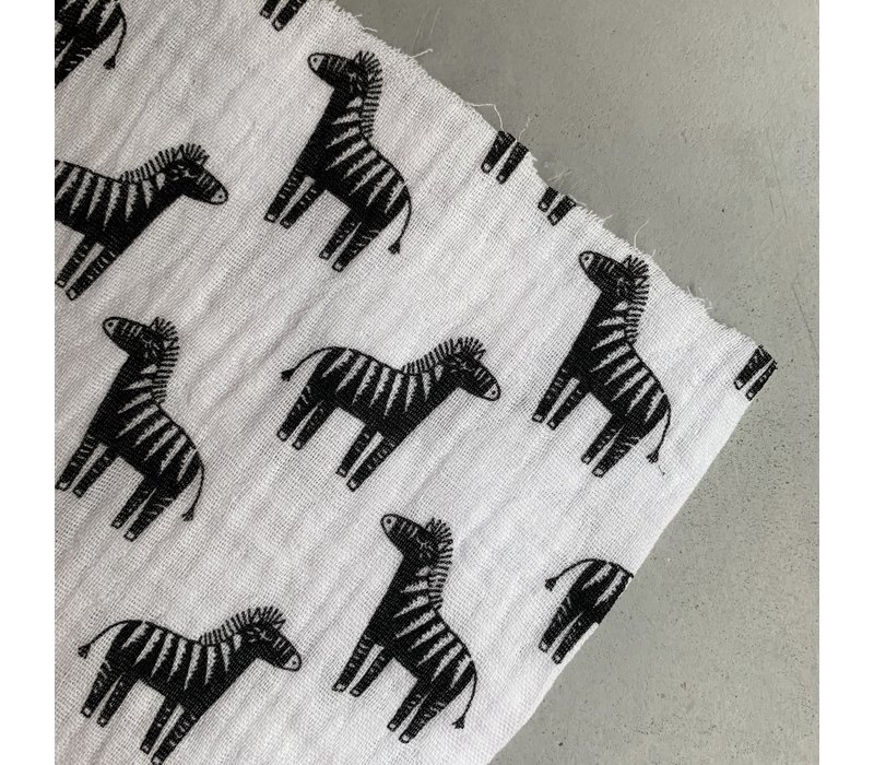 Double Gauze Tetra black & white zebra