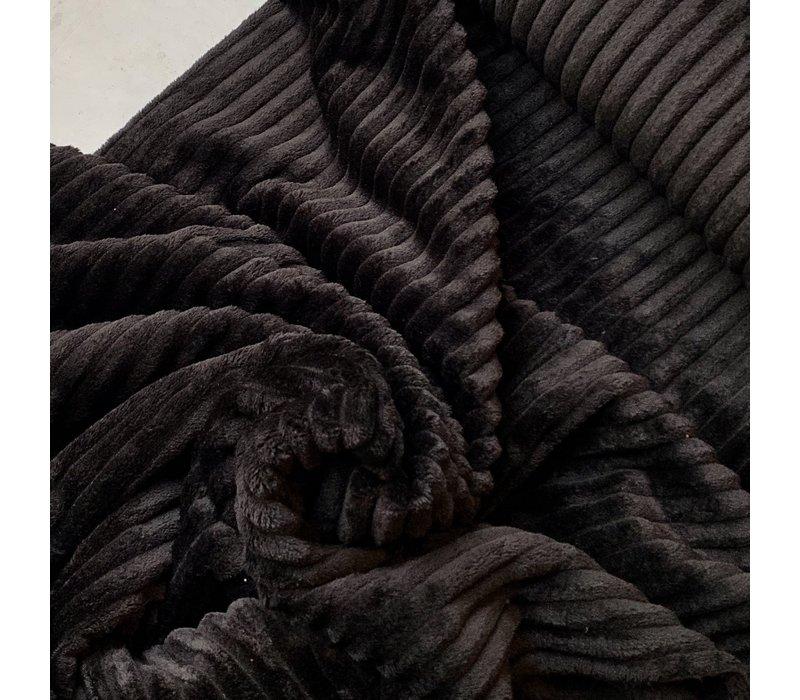 Mantel Pels Plisse zwart