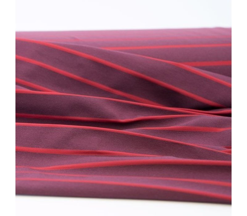 Bio Tricot Stripes Pool Bordeaux Red