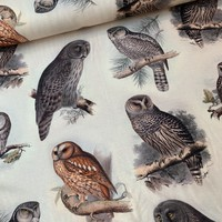 Viscose Tricot Digital Owls