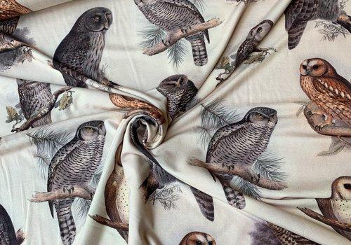 De Stoffenkamer Viscose Tricot Digital Owls