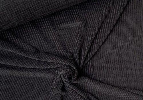 De Stoffenkamer Stretch rib Met Brede Ribbel zwart
