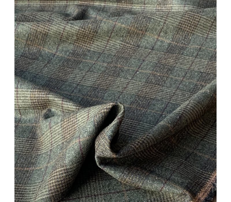 Wol Mix Tweed Checks Khaki