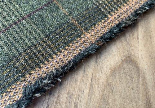 De Stoffenkamer Wol Mix Tweed Checks Khaki