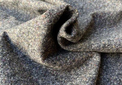 De Stoffenkamer Wol Mix Tweed Grey Spicks Multi