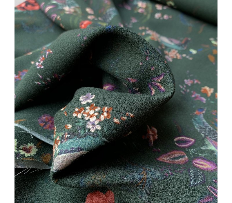 Blouse crepe dark green wildlife