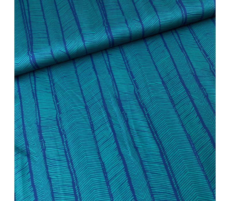 Blouse satin turquoise herringbones