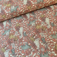 Canvas Cotton Flax Pink Forest