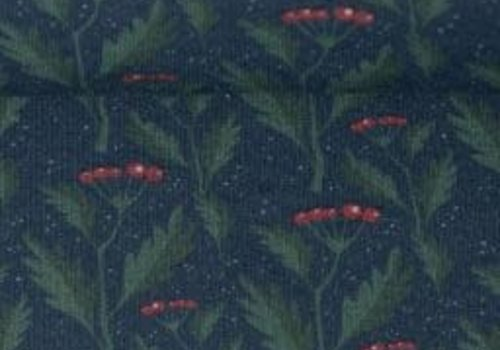 De Stoffenkamer Soft Sweater Dark Blue Holly Sprigs