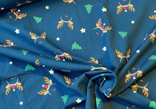 De Stoffenkamer Tricot Blue Christmas reindeer