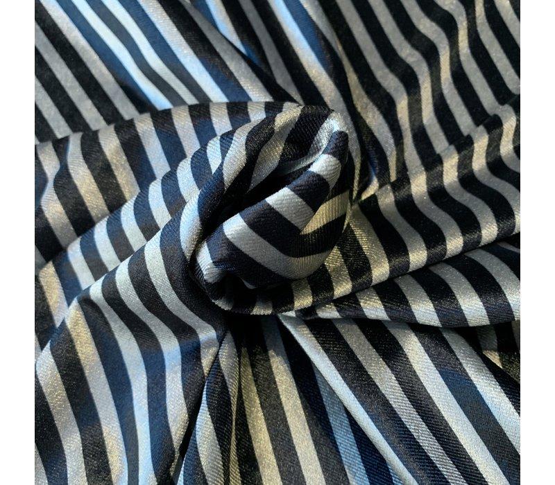Fluweel Velvet stripes grey black