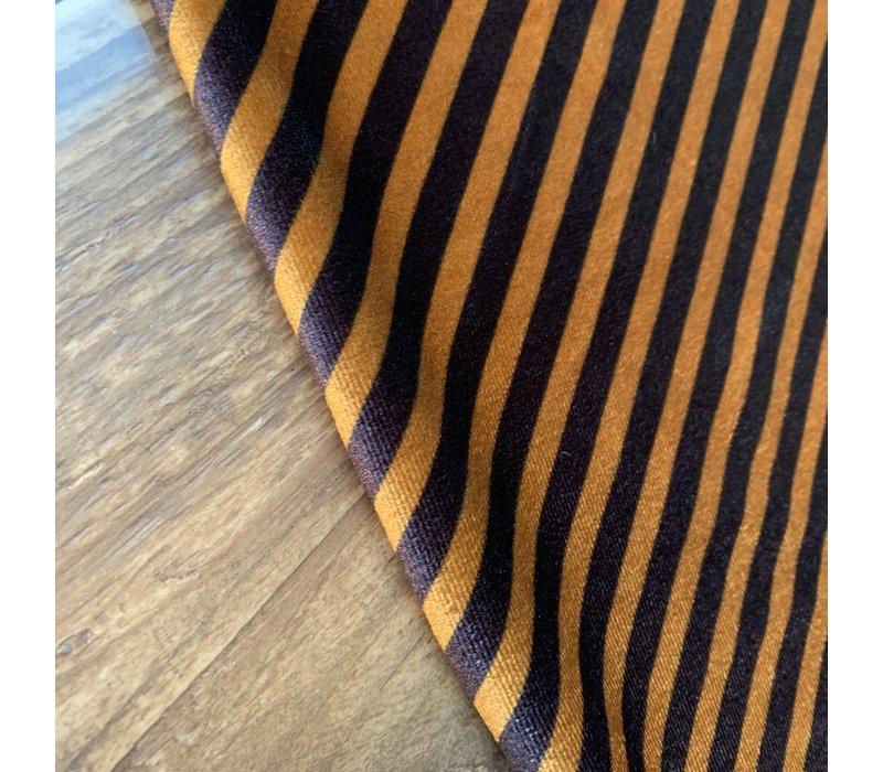 Fluweel Velvet stripes oker blue