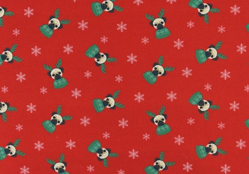 De Stoffenkamer French Terry Christmas Pugs Red