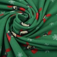 French Terry Christmas Pugs Green