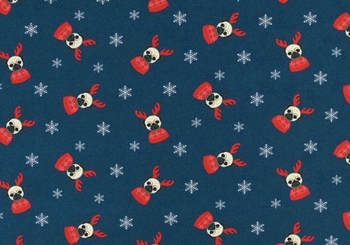 De Stoffenkamer French Terry Christmas Pugs Blue