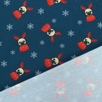 French Terry Christmas Pugs Blue