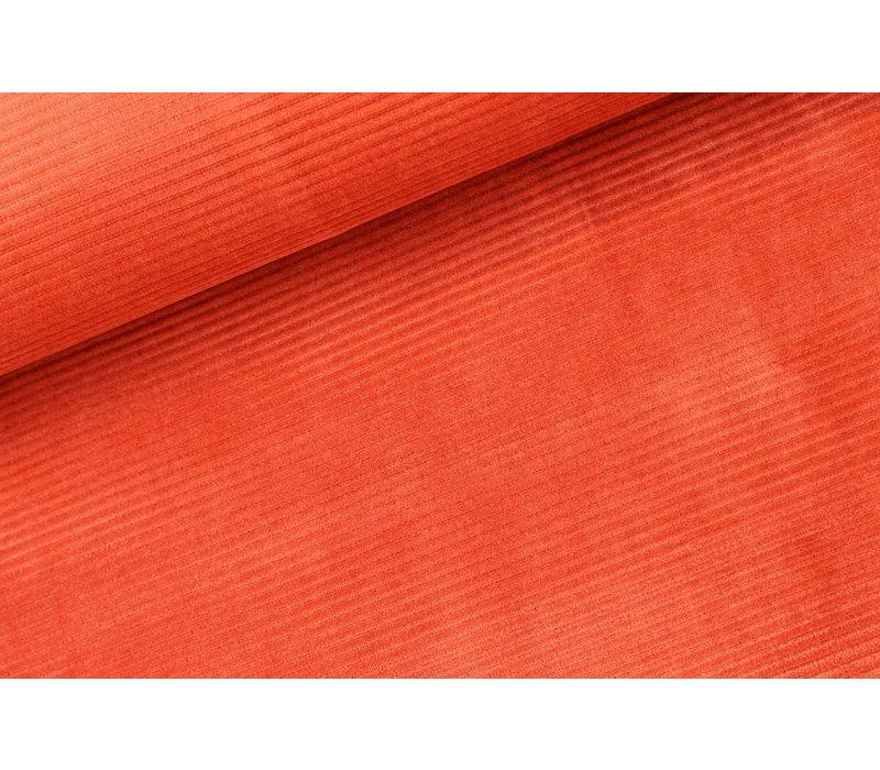 Stretch rib Met Brede Ribbel Rusty Orange