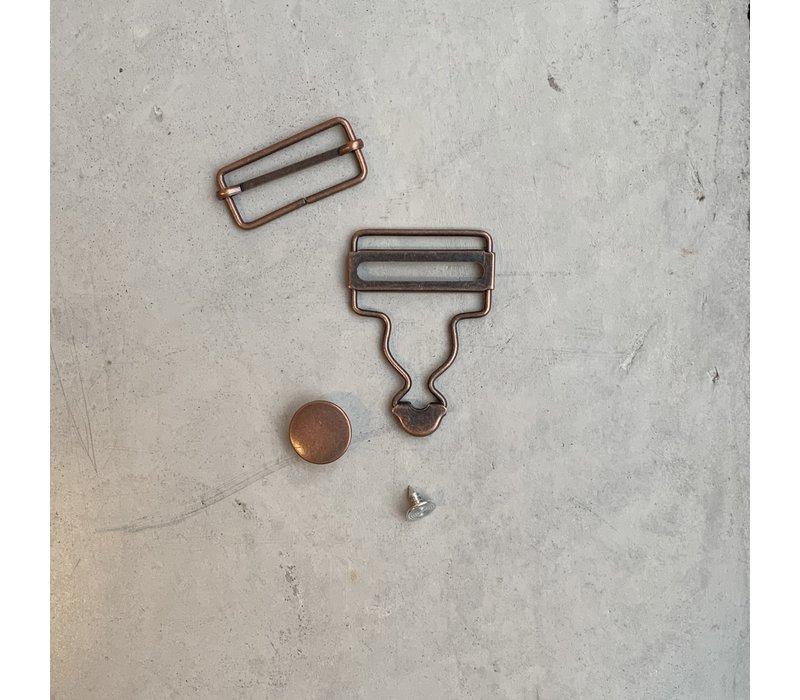 Salopette Sluiting Oud Koper 2stuks 25mm