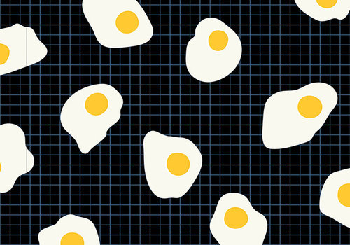 Moda Cotton Ruby Star - Black eggs grid