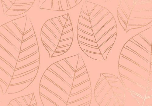 Moda Cotton Ruby Star - Pink metallic leafs