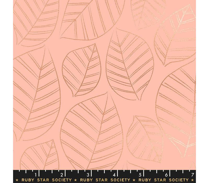 Cotton Ruby Star - Pink metallic leafs