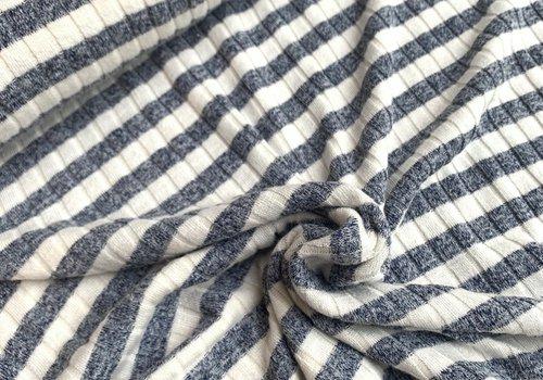 De Stoffenkamer Ribbed Tricot Stripes Blue