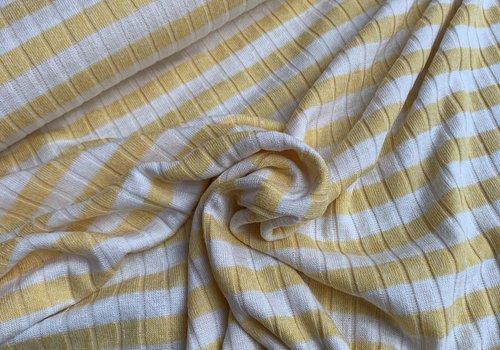 De Stoffenkamer Ribbed Tricot Stripes yellow