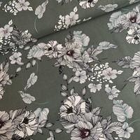 Linen Mix Washed Khaki Flowers