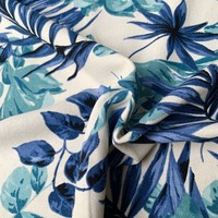 Linen Mix Washed Blue Flowers