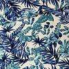 De Stoffenkamer Linen Mix Washed Blue Flowers