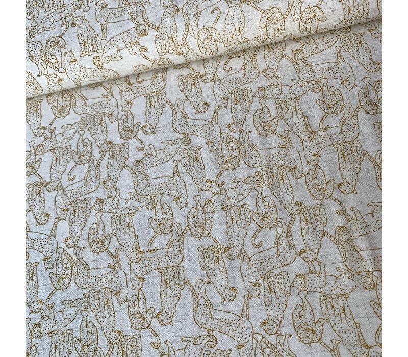 Linen Mix Leopard Ecru