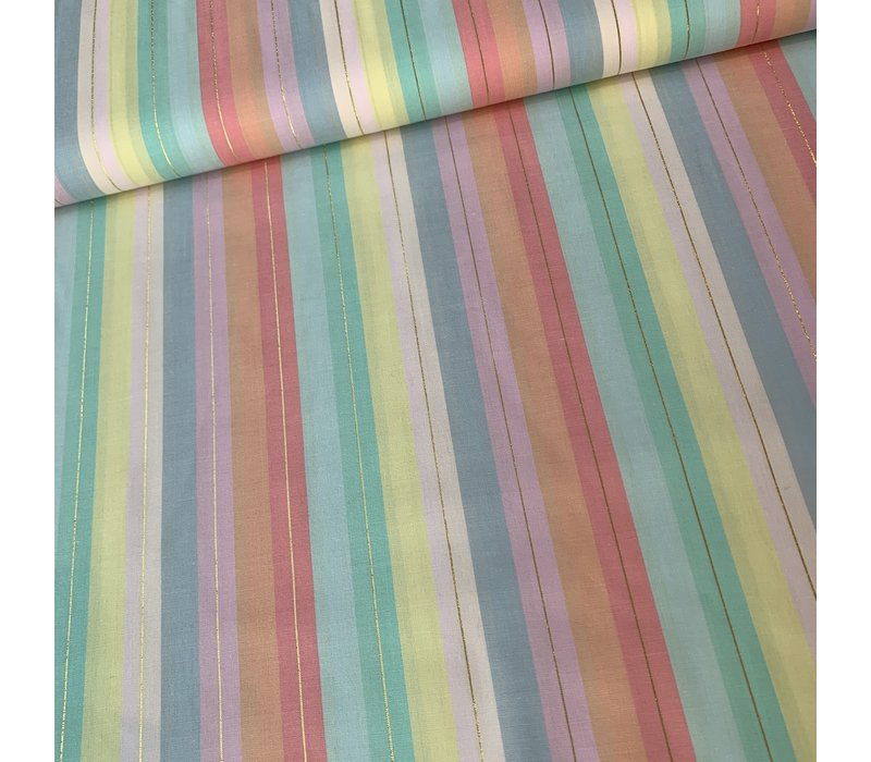 Cotton Pastel Lurex Stripes