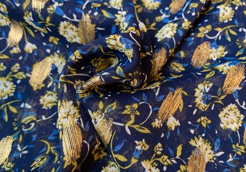 Blouse flowers Blue lurex
