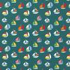 De Stoffenkamer Tricot Petrolgreen Boats