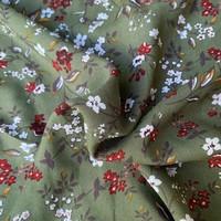 Blouse Viscose Khaki Flowers