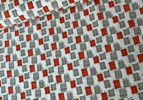 Blouse stretch crepe ecru squares