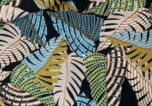 De Stoffenkamer Scuba Crepe structure Leaves