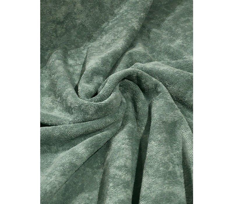 Rekbare badstof - spons donker grijsgroen