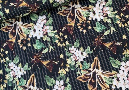 De Stoffenkamer Stretch Cotton dark pinstripe flowers