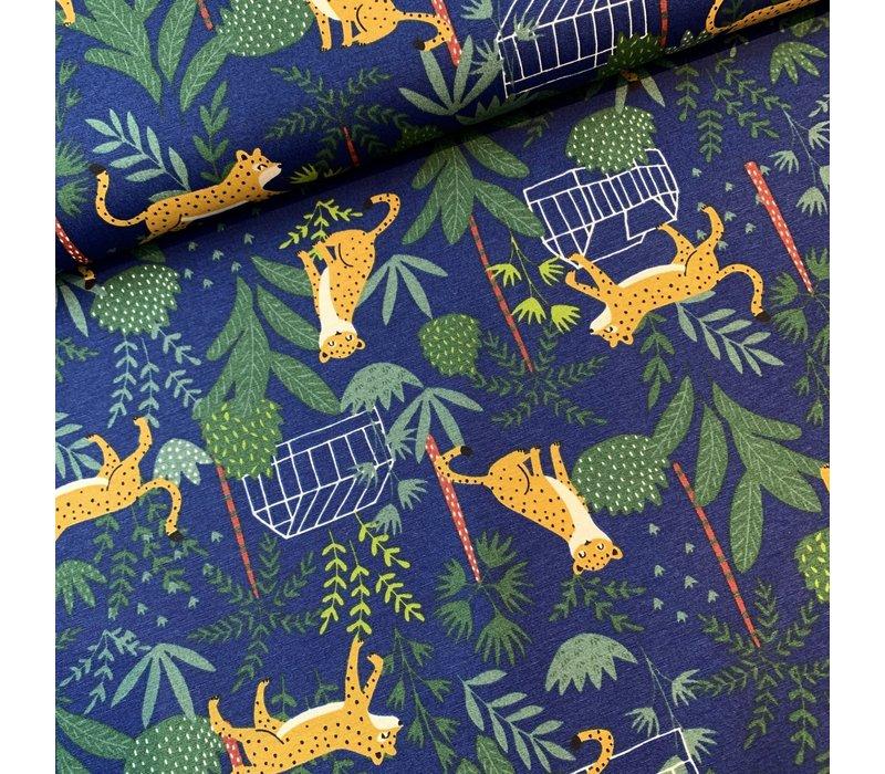 Canvas Blue Leopard Jungle