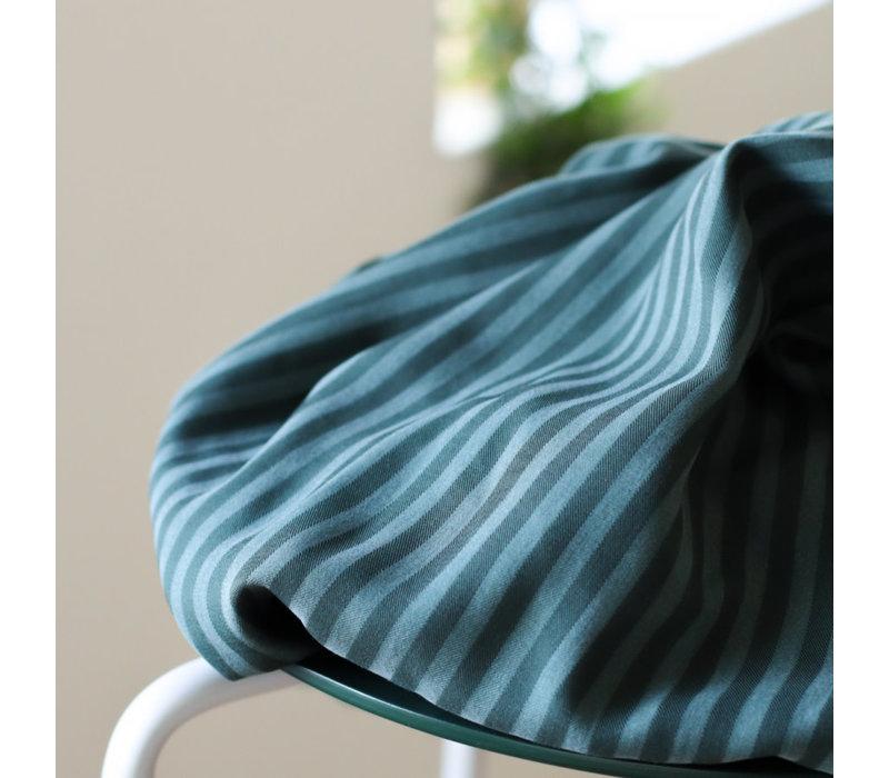 Tencel Twill Meet Milk- Deep Green stripe