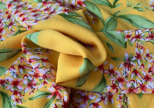 Blouse Viscose Bright Yellow Flowers