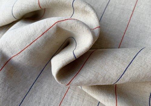 Bittoun Linen Mix Naturel Pin Stripe red - blue