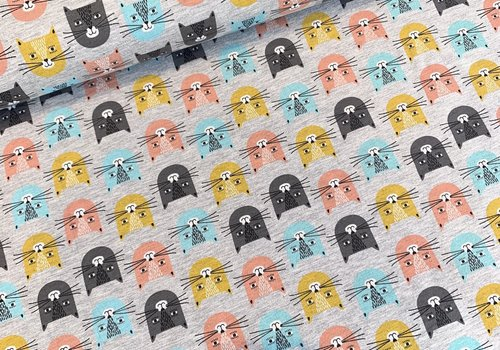 De Stoffenkamer Summer Sweater Grey Kitty Faces
